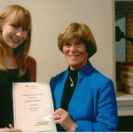 Jessica Bradbury, the recipient of the Mary Jones Award 2011(best 1st year nurse) receiving her certificate from Ann Spencer.